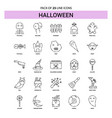 halloween line icon set - 25 dashed outline style vector image