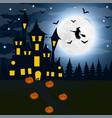 halloween the witch s house on the full moon vector image vector image