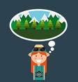 happy tourist woman travelers vacations thinking vector image vector image