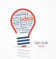 light bulb idea icon with word cloud vector image vector image