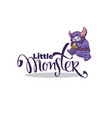 little monster logo template with image vector image vector image
