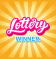 lottery game banner modern hand lettering vector image