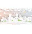 madison wisconsin city skyline in paper cut style vector image