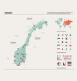 map norway country map with division cities vector image