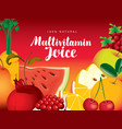 menu for multivitamin juice from various fruits vector image