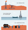 oil production and petroleum extraction banners vector image
