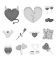 romantic relationship monochrome icons in set vector image