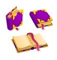 set cartoon purple book vector image vector image