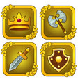 set of crown wooden shield sword and axe vector image