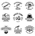 set space camp emblems design element for logo vector image vector image