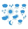 Set thin and clean outline weather icons vector image