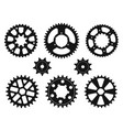silhouettes gear wheels icons set vector image