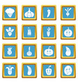 smiling vegetables icons azure vector image vector image