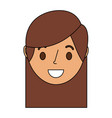 smiling young face girl cartoon female vector image