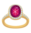 Star ruby golden ring vector image vector image