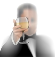 Successful businessman toasting with wine on white vector image vector image