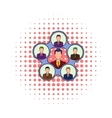 Team management icon comics style vector image vector image