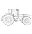 tractor side view wire-frame tracing vector image vector image