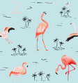 tropical flamingo palms seamless summer pattern vector image vector image