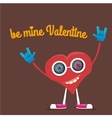 valentines day card with cartoon heart vector image