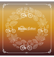 Vintage hello autumn text leaves and bikes vector image vector image