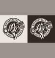 vintage monochrome motorcycle workshop round logo vector image vector image