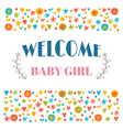 Welcome baby girl Baby shower greeting card Baby vector image