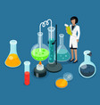 woman holding results chemical experiments vector image vector image