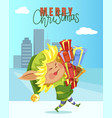 xmas wish and elf character with presents vector image vector image