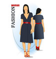 young fashion woman in blue dress vector image vector image