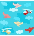 Seamless pattern with airplanes and clouds vector image