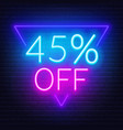 45 percent off neon lettering on brick wall vector image vector image