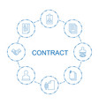 8 contract icons vector image vector image