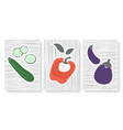 abstract simple minimal vegetables set template vector image vector image