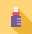 Baby bottle Colored flat on yellow background with vector image