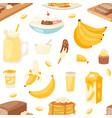 banana set bananas products bread pancake vector image vector image
