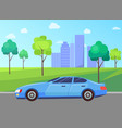 car and cityscape vehicle and skyscrapers park vector image