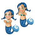 cartoon girl mermaid smiling and crying isolated vector image