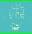 cocktail outline vector image vector image