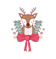 cute christmas reindeer with wreath and bown vector image