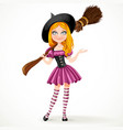 cute teenage redhaired witch in purple dress vector image vector image