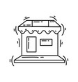 ecommerce marketplace hand drawn icon set outline vector image