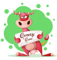 funny cute crazy character with paper banner vector image