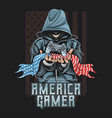 gamer hold joystick and america flag artwork vector image