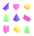 geometric prisms set colorful vector image