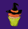 halloween cake with a witch hat vector image vector image