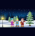happy kids group singing in the snowy garden vector image vector image