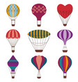 hot air balloons colorful icon set vector image