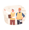 inspector and foreman in hardhats at construction vector image vector image