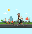 man on bicycle with people in city park on vector image vector image